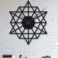 ساعت دیواری اسلیمی با رنگ مشکی جنس چوبی MDF