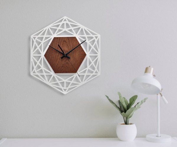 ساعت دیواری مدل اسلیمی چوبی از جنس MDF ترکیبی از دو رنگ
