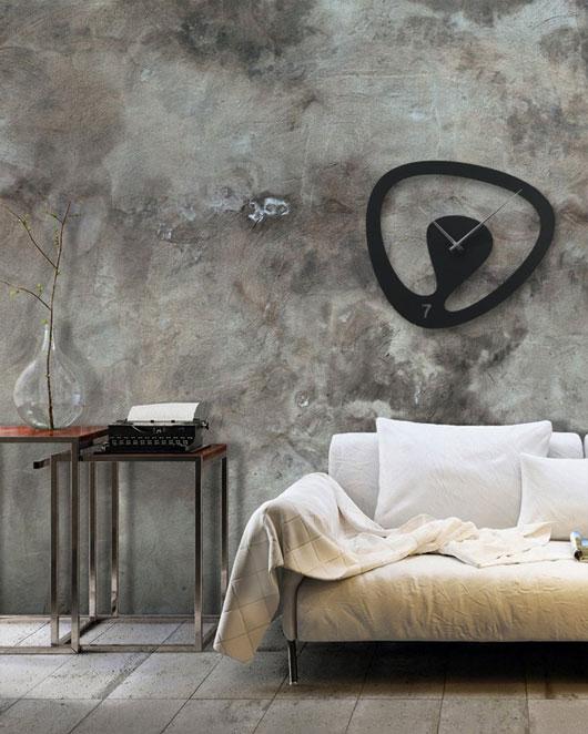 ساعت دیواری اورانوس با رنگ مشکی از جنس شیشه نشکن (پلکسی گلاس)