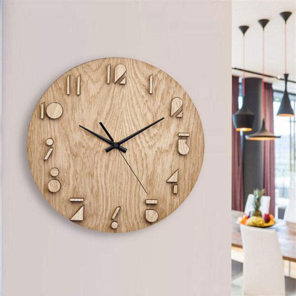 ساعت دیواری مدل Wooden با طرح چوبی و جنس MDF