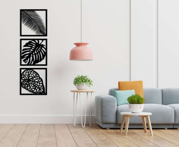 تابلو لاین آرت تراپیکال (Tropical) سه تکه برگ استیکر چوبی