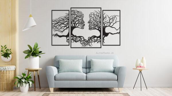 استیکر چوبی درخت عشق سه تکه جنس چوبی MDF