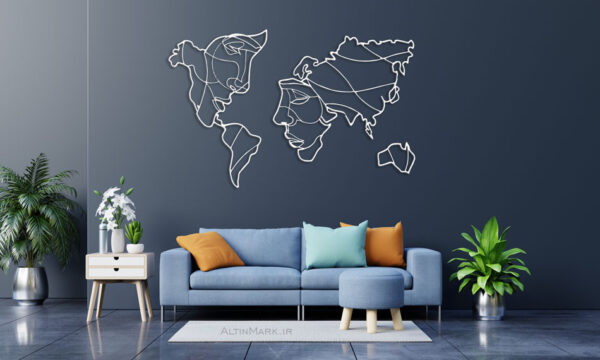 استیکر چوبی نقشه جهان جنس چوبی MDF (لاین آرت)