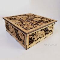 """جعبه کادو طرح شکوفه جنس چوبی """"باکس هدیه شیک مناسب هدیه"""""""