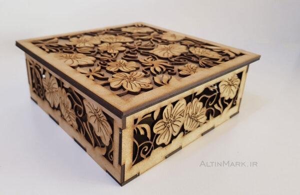 جعبه کادو طرح شکوفه جنس چوبی
