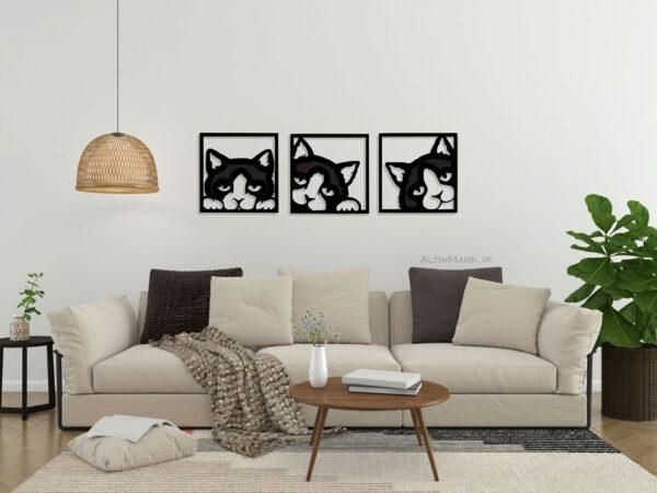 تابلو سه تکه گربه