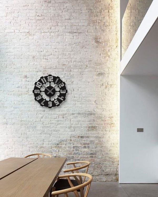 ساعت دیواری رنگ مشکی لوکس با طرح اعداد بزرگ