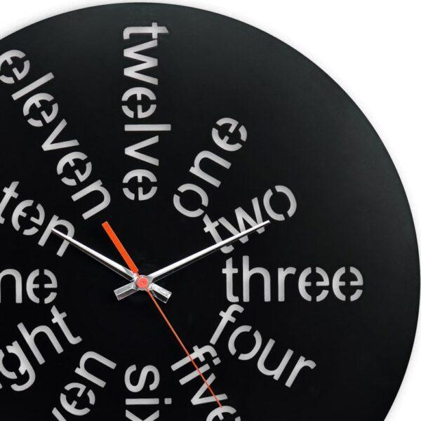 ساعت دیواری مشکی با نوشته اعداد جنس گلس (شیشه نشکن)