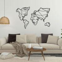 استیکر چوبی نقشه دنیا جنس چوبی MDF (لاین آرت)
