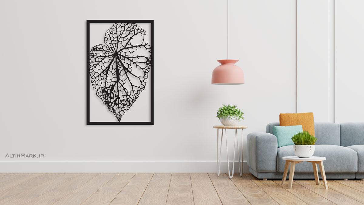 """تابلو استیکر برگ درخت جنس چوبی MDF """"لاین آرت"""""""