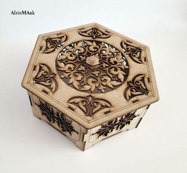 جعبه هدیه طرح آمیتیس با جنس چوبی MDF در 4 سایز