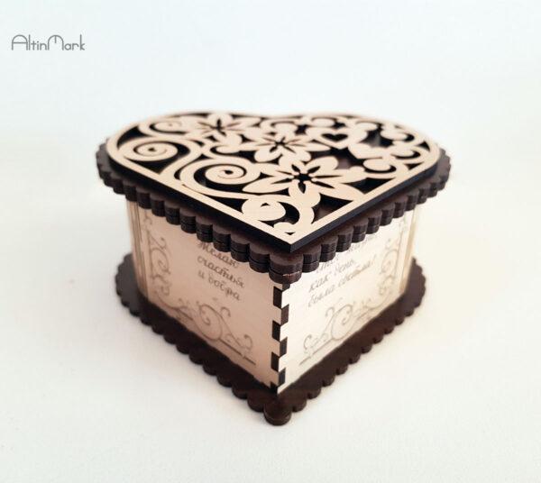 جعبه هدیه قلب فانتزی طرح جدید جنس چوبی در 5 سایز