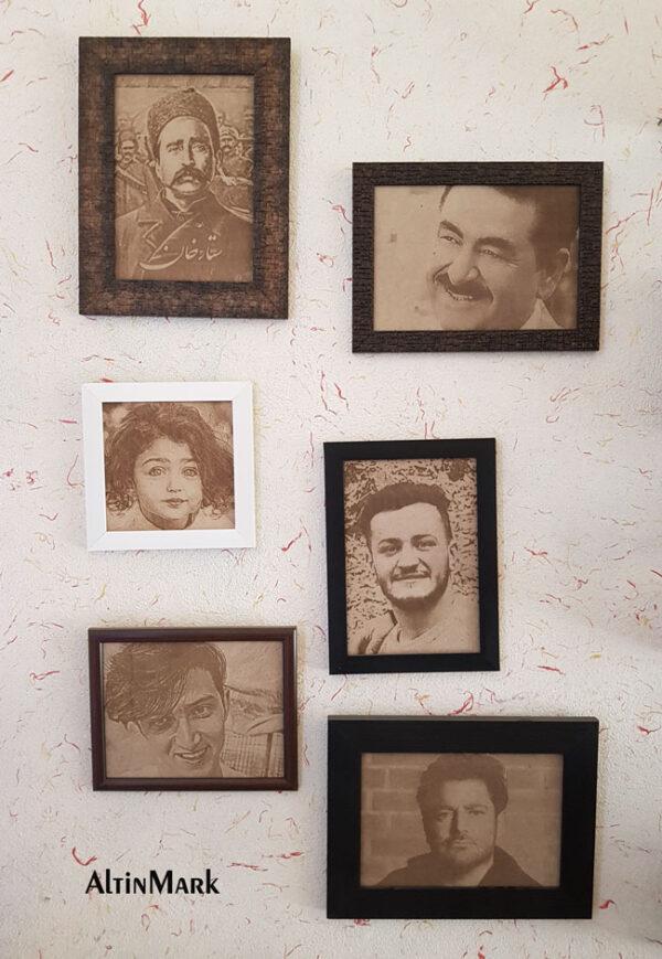 تابلو حکاکی چهره روی چوب با قاب دور و باکس چوبی 1400
